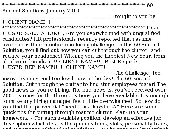 60 Second Solutions: Reducing resume overload